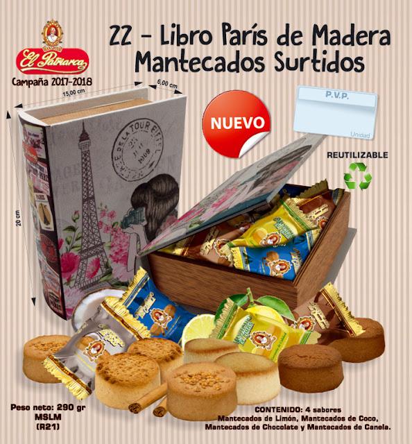 Nº22 Libro París de madera con Mantecados Surtidos El Patriarca 290 g - Comercial H. Martín sa