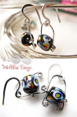 wire wrapped ethnic bead earrings