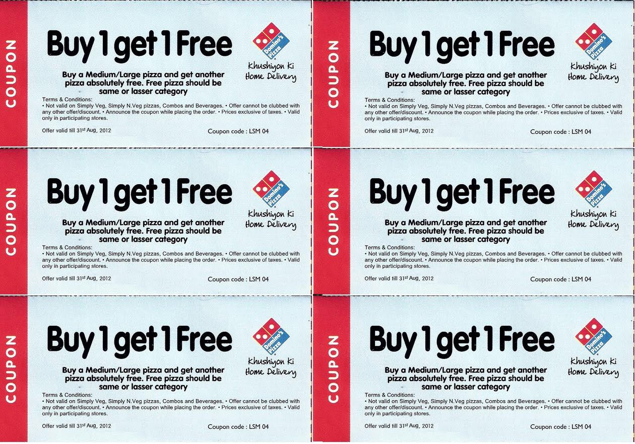 Here in this blog, i will give you all Dominos Buy 1 Get 1 Coupon moubooks.mlne availed discount across the country. Dominos is a giving high discount to their customers. They are taking a maximum discount with dominos offers & coupons codes by using different vouchers and coupons that have especially been customized according to their city. Dominos is one of the best and popular in online.