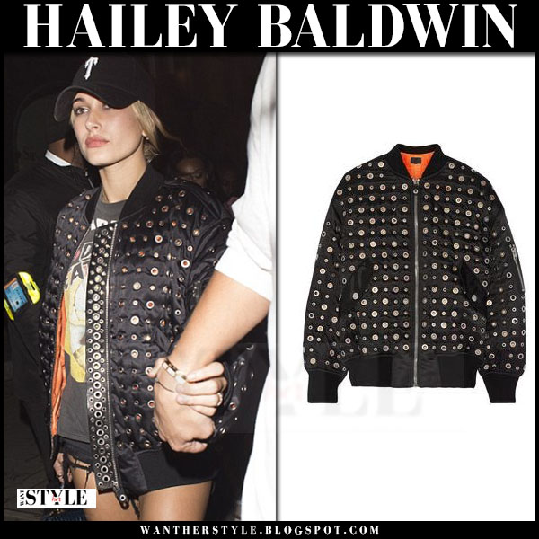 Hailey Baldwin in black eyelet bomber jacket alexander wang what she wore