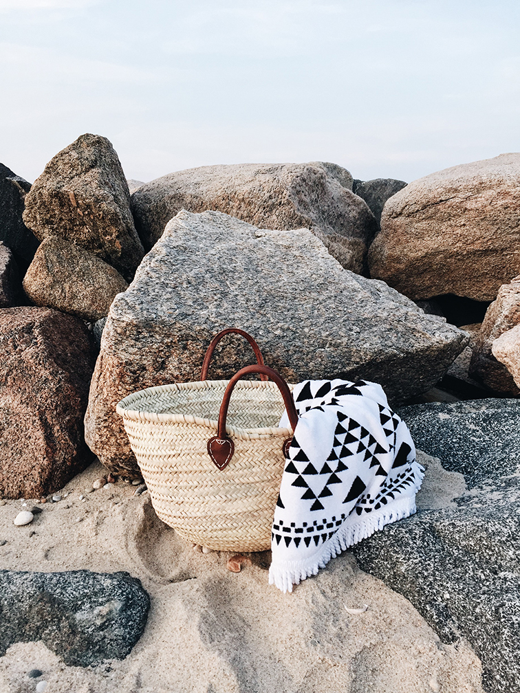 Menemsha Beach, Aztec round towel, Shop We Are Summer, Kaufmann Mercantile handmade basket