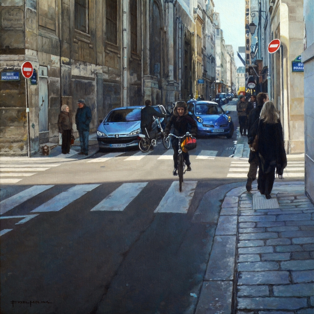 11-Rue-Saint-Louis-en-L-Île-París-Fidel-Molina-Realistic-Paintings-of-Cities-Frozen-in-Time-www-designstack-co