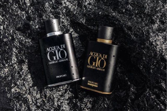 Obie wersje Armani Acqua di Gio Profumo w oficjalnej fotografii reklamowej