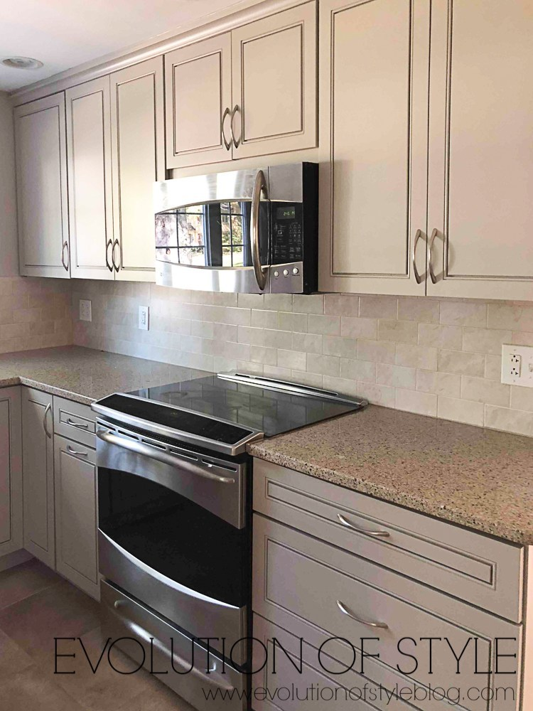 Anew gray on kitchen cabinets
