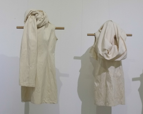 www.Tinuku.com Caroline Rika Winata presenting plain white textile installation works in joint exhibition at Bale Banjar Sangkring
