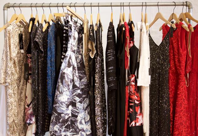 Rolling rack of Parker dresses for Holiday 2016
