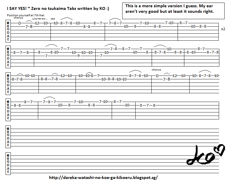 Anime Guitar Tabs Tabs For Zero No Tsukaima I Say Yes