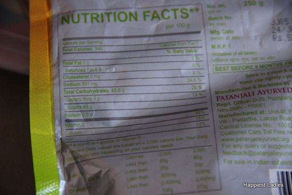 patanjali mango candy nutritional facts