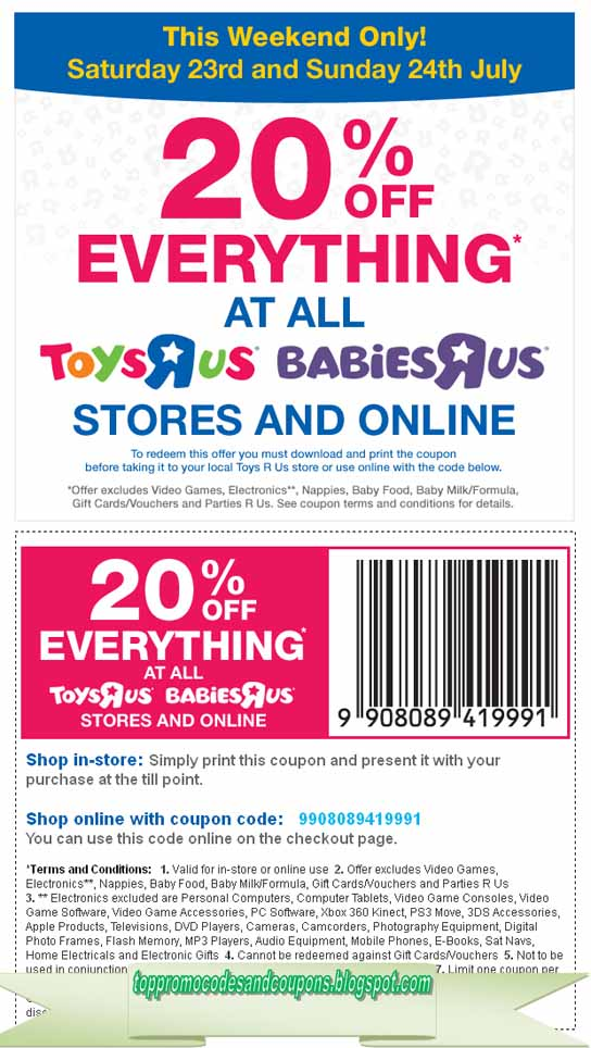 image about Toys R Us Printable Coupon named No cost Promo Codes and Discount codes 2019: Toddlers R Us Coupon codes
