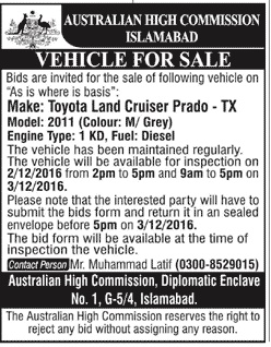 High Commission Islamabad Vehicle for sale
