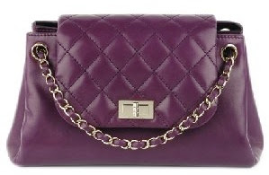 Authentic quilted purple CHANEL CC Chain Bag