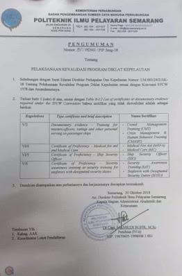 Pengumuman Pelaksanaan Revalidasi Diklat Kepelautan di PIP Semarang.