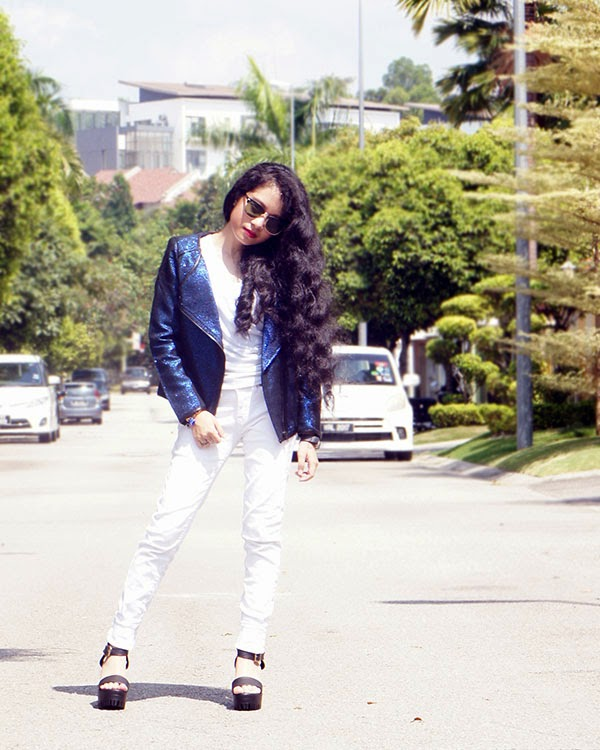 Electric Blue, Zalora Collarless Tweed Biker Jacket, SEA Citizen Sweet Pleat Tee White, White Skinny Jeans, Agape Boutique Chunky Platform Heels, Playful & Snazzy Deep in Love Bracelet, Handmade Jewelry, Chunky Crystal Bracelet, Swarovski, Loose Curls, White and Blue outfit