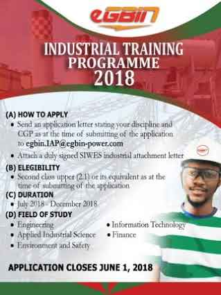 EGBIN Power Plc Industrial training Programme 2018