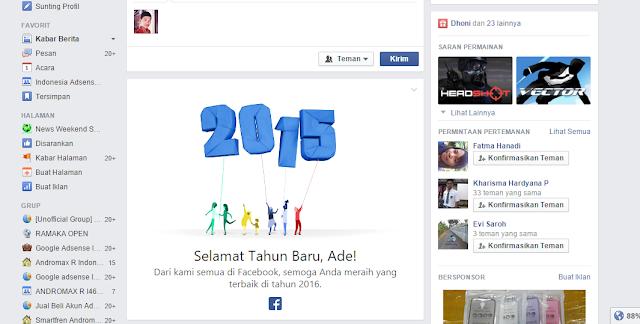 Facebook Turut Memberikan Ucapan Selamat Tahun Baru 2016