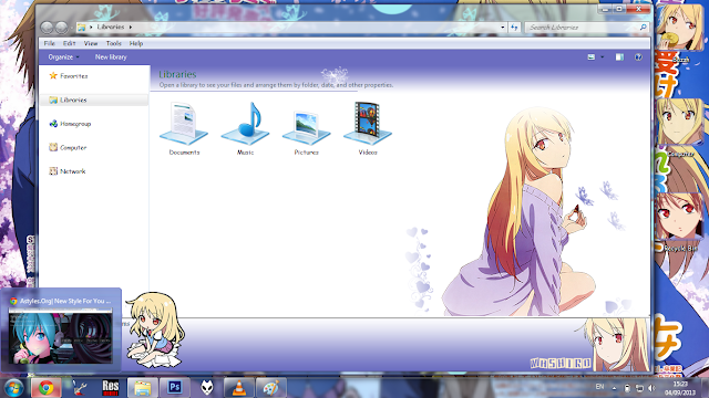 Windows 7 Theme Shiina Mashiro by Bashkara