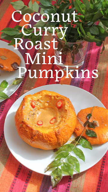 Food Lust People Love: Thai red curry paste whisked with coconut crea, makes a gorgeous velvety sauce inside these coconut curry roast mini pumpkins!