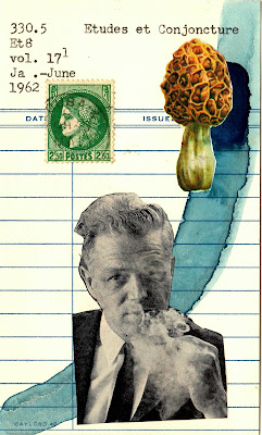 smoking man portrait postage stamp morel mushroom library card Dada Fluxus mail art collage