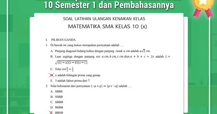 Inilah Kumpulan Soal Matematika Kelas 10 Semester 1 dan Pembahasannya  Operator Sekolah