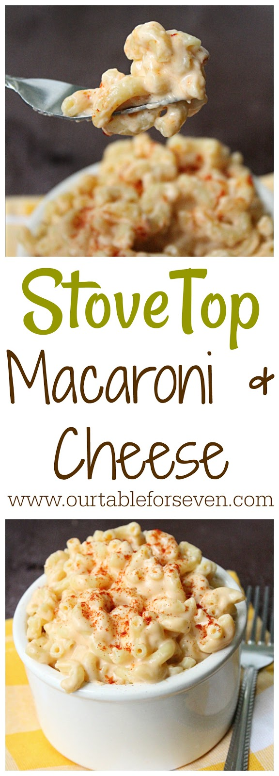 Stove Top Macaroni and Cheese from Table for Seven: Tired of the boxed version? Give this classic stove top version a try!
