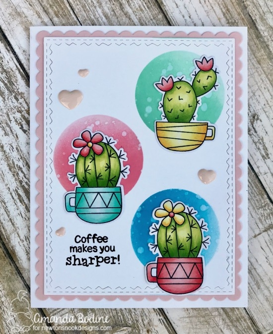 Coffee Makes You Sharper Card by Amanda Bodine   Cuppa Cactus Stamp Set by Newton's Nook Designs #newtonsnook