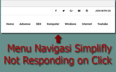 Menu Navigasi Template Simplifly Error tidak bisa di klik