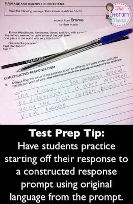 Test Prep Tip:  Have students practice starting off their response to a constructed response prompt using original language from the prompt. Read on for more effective ways to prepare students for standardized testing.