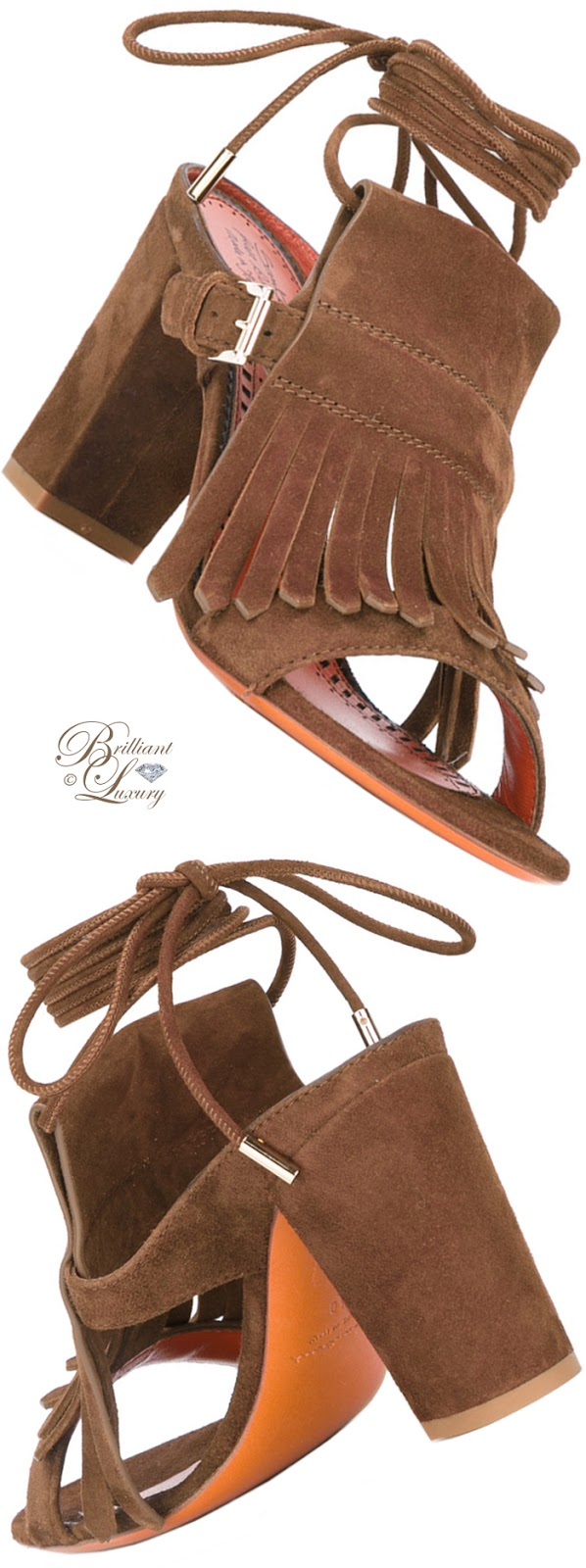 Brilliant Luxury ♦ Santoni Fringe Block Heel Sandal