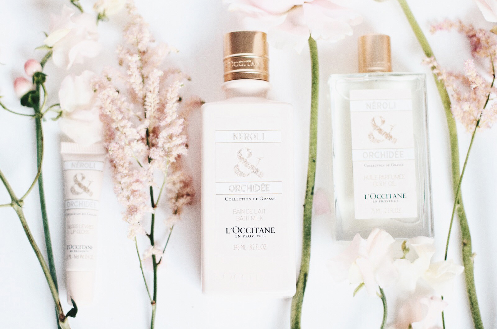 l'occitane orchidee neroli huile corps parfumée gloss lèvres huile bain