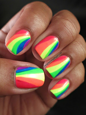 neon, rainbows, funky, china glaze, orly, love & beauty, nails, nail art, nail design, mani