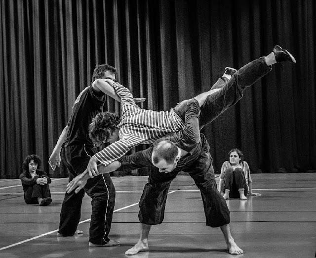 Workshop de contact improvisation intitulé Corlor à Tour. Professeur Cleo Laigret invité par l'association Passe moi ta danse dirrigée par Elsa Pernot.  Cléo enseigne parmi d'autres professeurs au PFMR. Improvisation en Run Robin réalisée en fin d'atelier