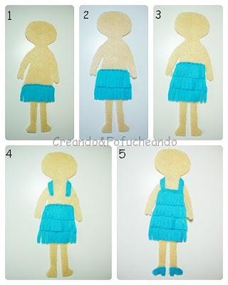 paso-a-paso-vestido-muñeca charlestón-en-fieltro-como-marcapáginas