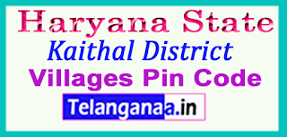 Kaithal District Pin Codes in Haryana State