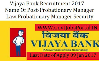 Vijaya Bank Recruitment  For Probationary Officer Post