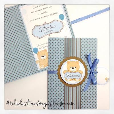 convite aniversário artesanal infantil personalizado 1 aninho menino ursinho poá azul marrom criança