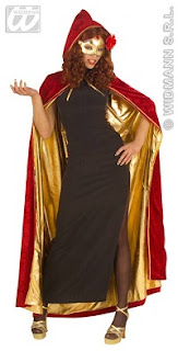 Red and gold reversible hooded cape