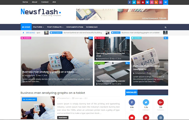 Newsflash Responsive Magazine Personal Blog News Tutorial Life Hacks Blogger Template Theme