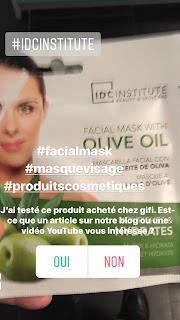 Masque tissu pour le visage IDC institute à lhuile d'olives pour tous les types de peaux