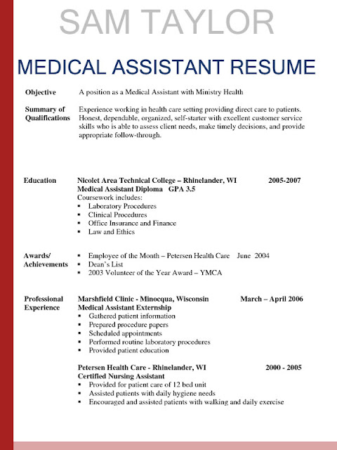 sample resumes for medical assistant sample resumes