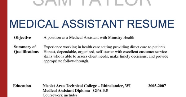 Sample Resumes for Medical Assistant Sample