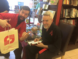 Coach Gary (left) and author Ruby (right) at the launch of Zombies v. Ninjas