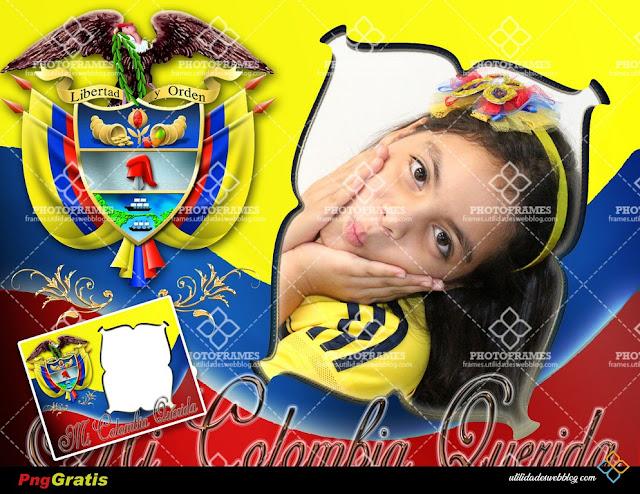 Hermoso marco para fotos con la bandera y escudo de Colombia