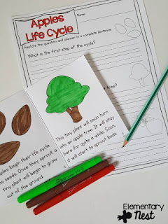 Fall Science- activities to help integrate science into your fall teaching- apple life cycle ideas