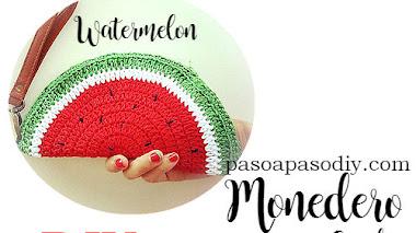 Monedero Crochet con forma de sandía / DIY