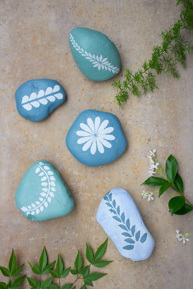 Stenciled rocks with chalk paint
