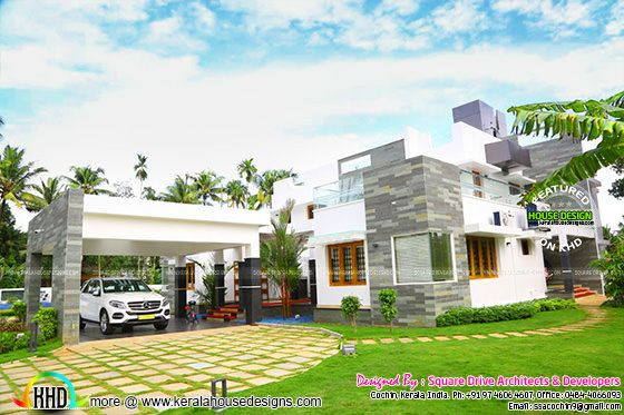 Work completed modern house in Cochin, Kerala