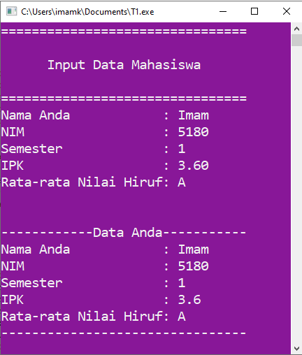 Output  program C++ yang menyertakan Integer, Float, char dan Sting