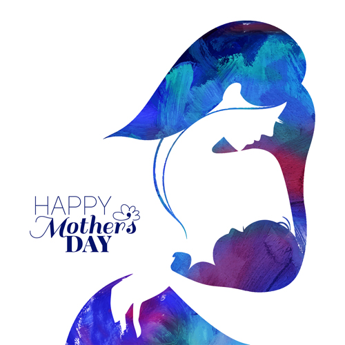 Set of happy mother's day art background free vector 02
