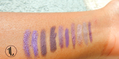 Pencil Eyeliner stash swatches (purple) - www.modenmakeup.com