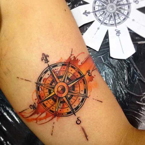 compass tattoo orange color turuncu pusula dövmesi
